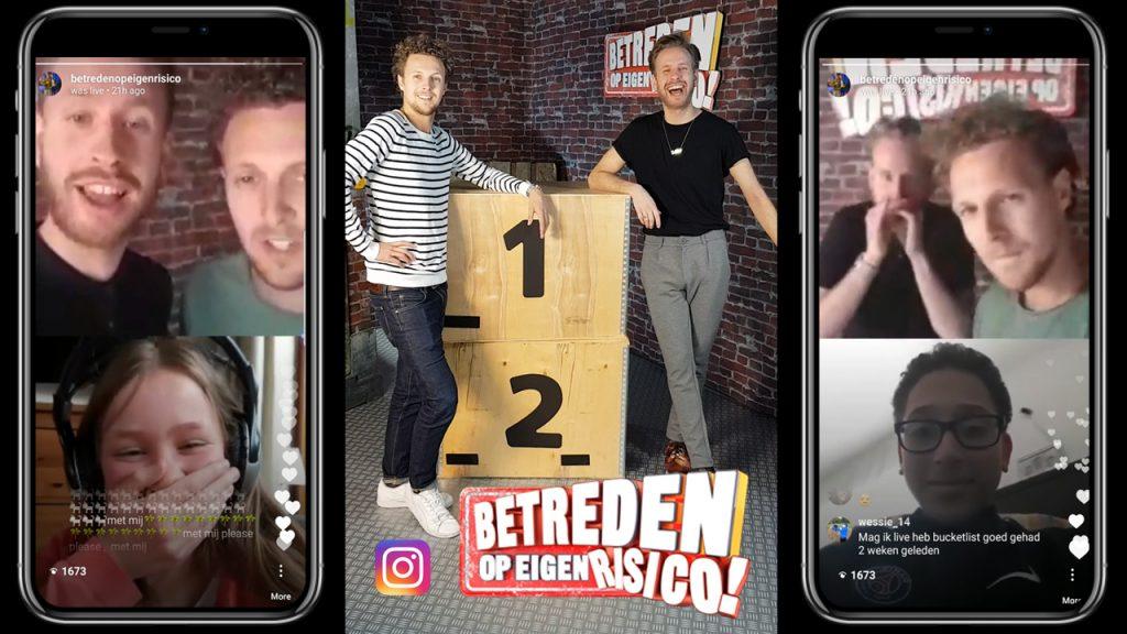 Betreden Op Eigen Risico gaat Duo Live op Instagram