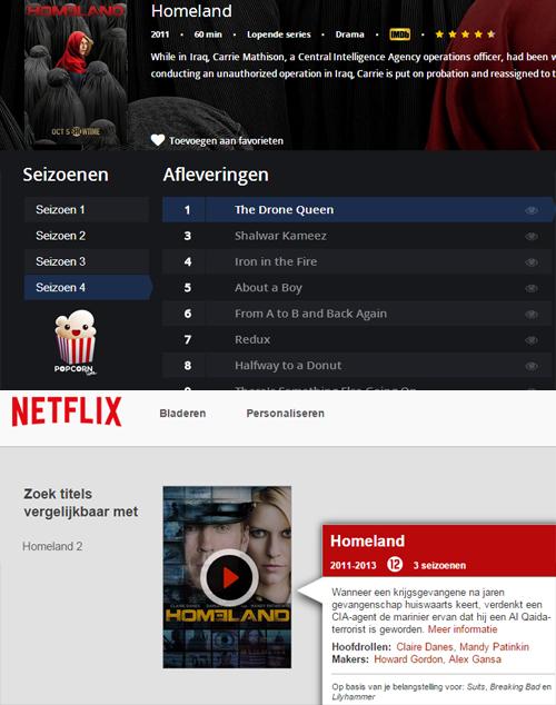 Vier seizoenen Homeland op Popcorn Time en slechts drie on Netflix